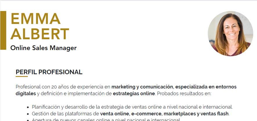 iCulum ejemplo perfil cv