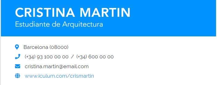 Curriculum de Estudiante Datos de Contacto iCulum