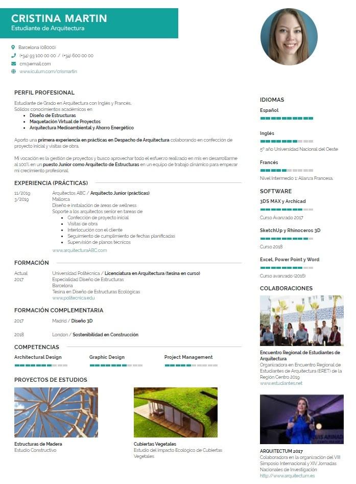 Curriculum de Estudiante Ejemplo iCulum