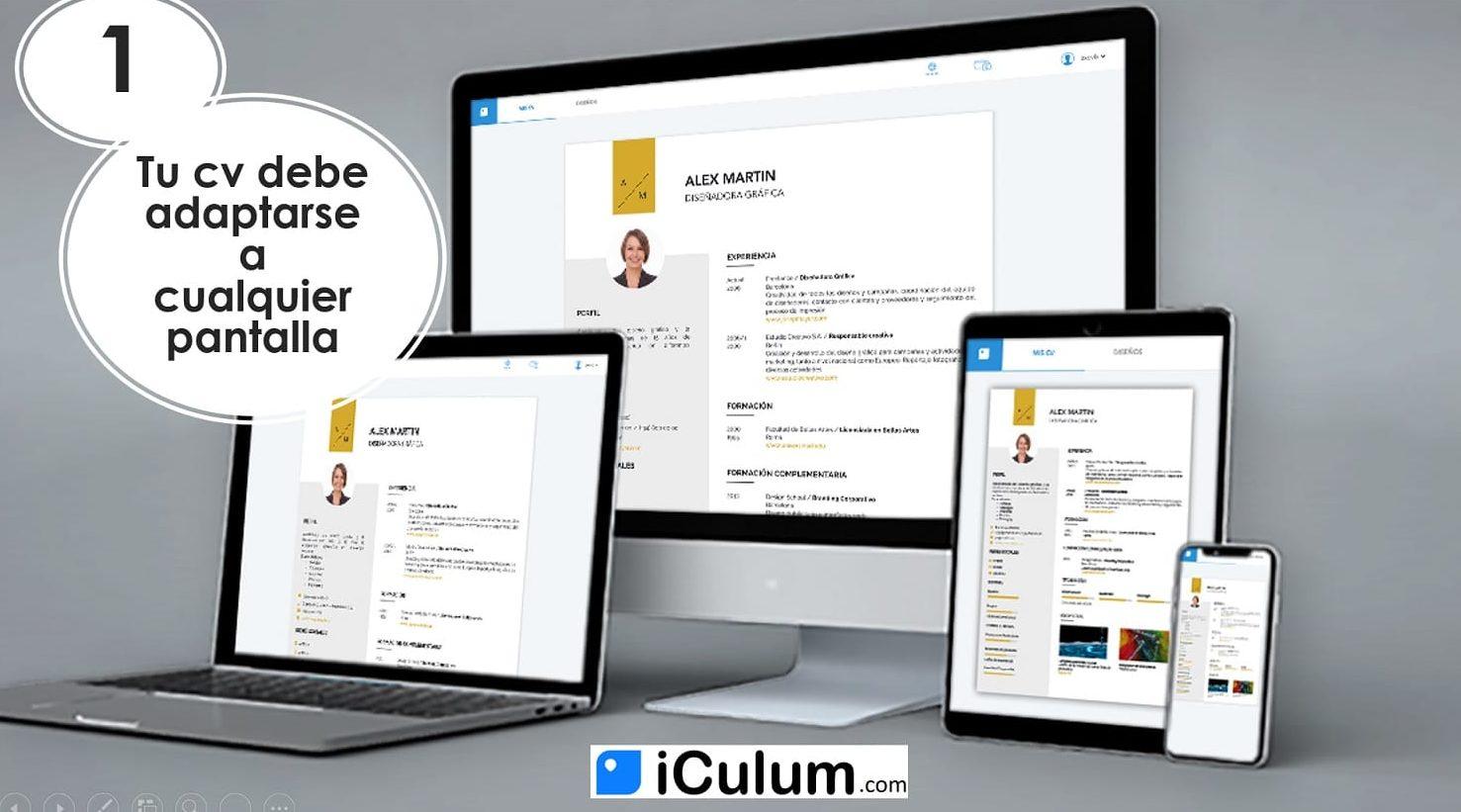 curriculum moderno cv adaptado a cualquier pantalla