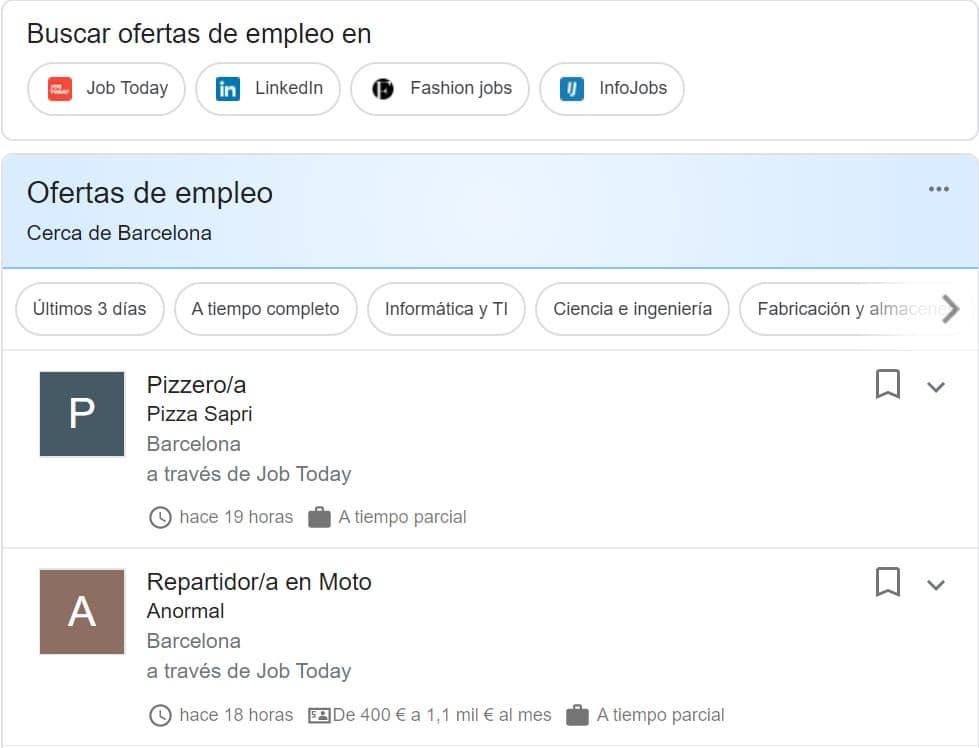 webs para buscar trabajo Google