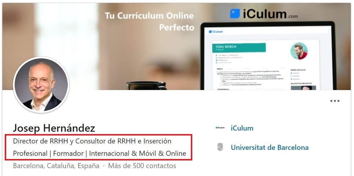 Titular profesional LinkedIn iCulum